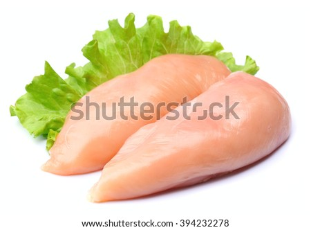 Chicken fillet close up on white - stock photo