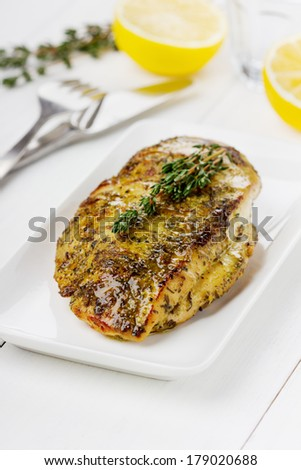Chicken fillet with thyme on a white plate - stock photo