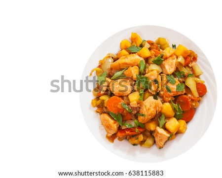 chicken fillet with vegetables. top view. isolated on white