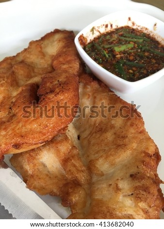 Chicken Fried Steak and Jaew(Thailand name) Spicy Dipping Sauce - stock photo