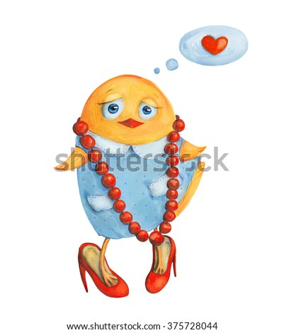 Chicken girl in big red shoes and beads with heart. Watercolor and gouache Illustration. Hand drawing - stock photo