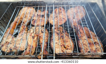 chicken grill cooking - stock photo