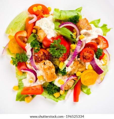 Chicken gyros salad top view - stock photo