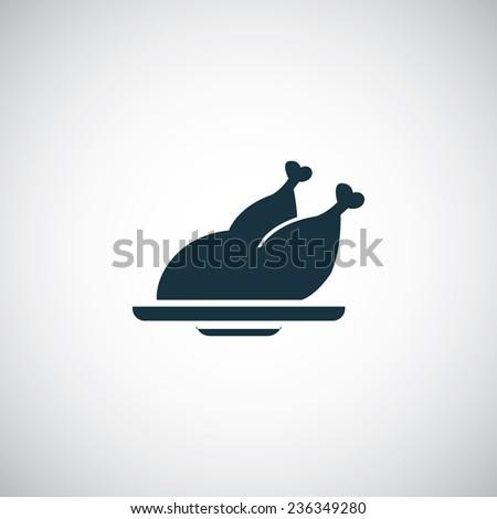 chicken icon on white background  - stock photo