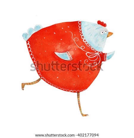 Chicken in red dress run. Watercolor illustration. Hand drawing - stock photo