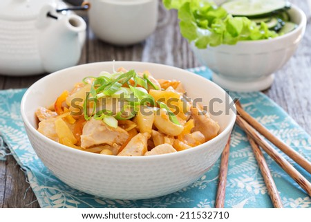 Chicken in sweet and sour sauce in a bowl