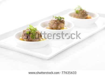 chicken in sweet sauce with fruit - stock photo
