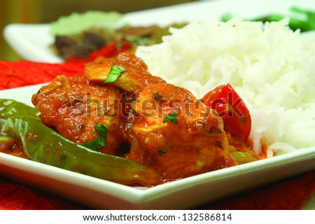 chicken jalfezi with basmatti rice - stock photo