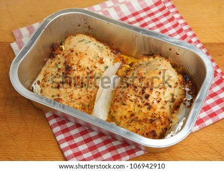 Chicken kiev easy meal baked in aluminium tray - stock photo