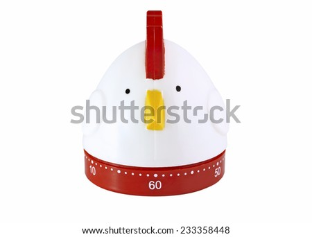 Chicken kitchen timer themed studio isolated with white background - stock photo