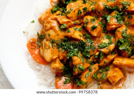 chicken korma, a spicy Indian themed meal of diced chicken, rice and creamy korma sauce topped with chopped cilantro - stock photo