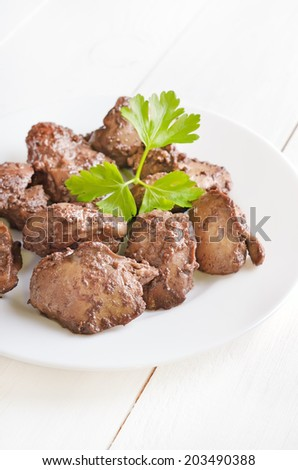 Chicken liver on white plate - stock photo