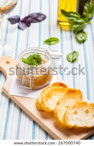 Chicken liver pate and bread