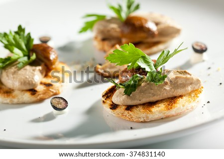 Chicken Liver Pate with Bread - stock photo