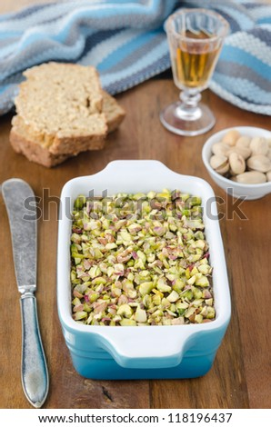 Chicken liver pate with pistachios