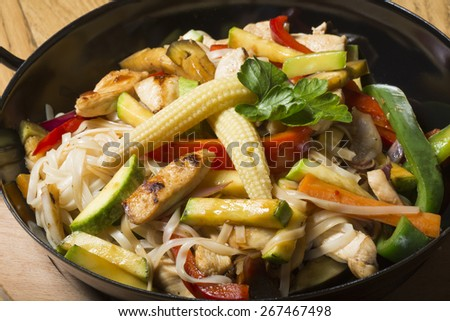 Chicken meat with noodles - stock photo