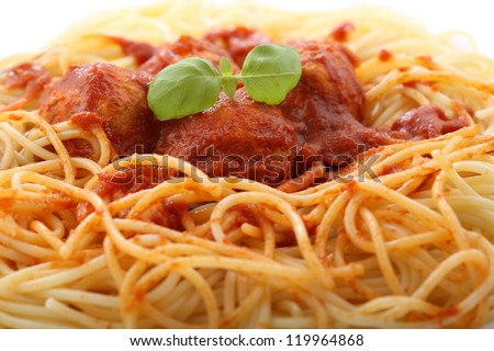 chicken meatballs with spaghetti-closeup - stock photo