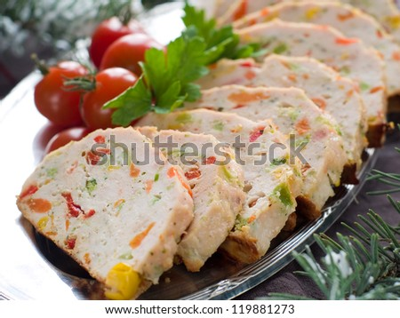 Chicken meatloaf with vegetables, selective focus