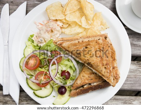 Chicken mozzarella and pesto sandwich with crisps or potato chips and ...