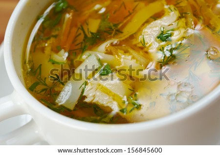 chicken noodle soup. close up