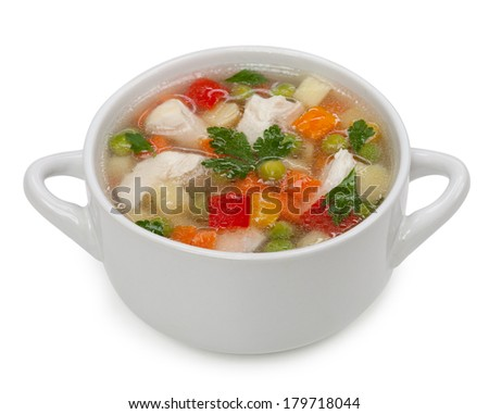 Chicken noodle soup isolated on a white background  - stock photo