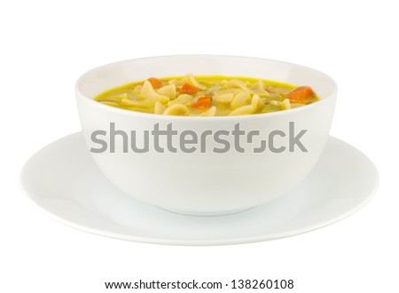 Chicken noodle soup isolated on white background - stock photo