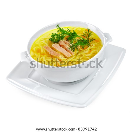 Chicken noodle soup on a white background - stock photo
