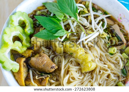Chicken noodle with bitter, Thai Food - stock photo