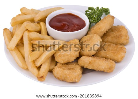 Chicken nuggets and fried potatoes on a white plate. - stock photo