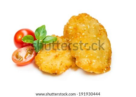 Chicken nuggets, breaded with sesame seeds isolated on white background - stock photo