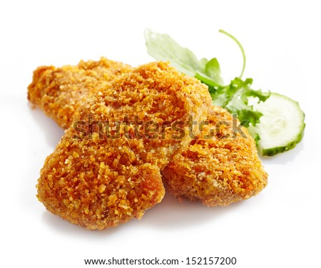 chicken nuggets on a white background - stock photo