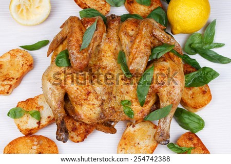 Chicken on Bread With Herbs and Lemon