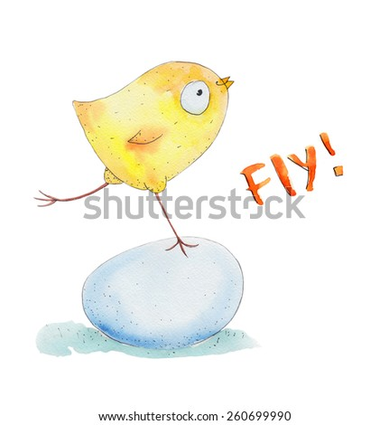Chicken on the egg . Fly. Watercolor illustration. Hand drawing - stock photo