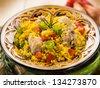chicken paella, selective focus - stock photo