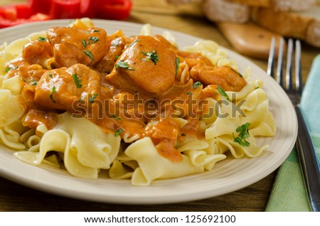 Chicken Paprikash with Egg Noodles and Red Pepper