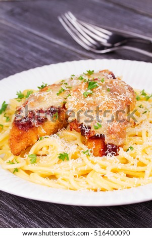 Chicken parmesan and pasta. Chicken brests and spaghetti