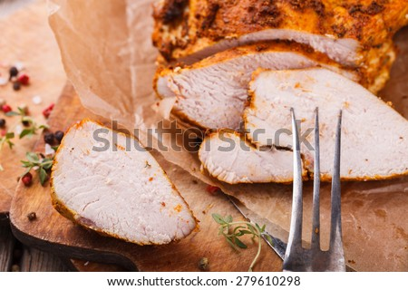 Chicken pastrami with thyme.selective focus - stock photo
