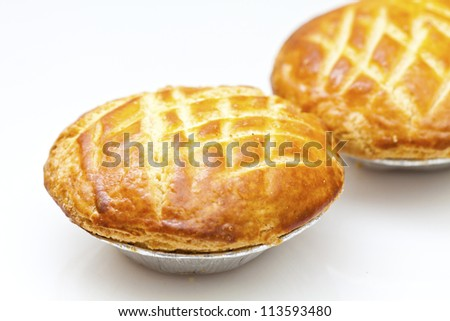 Chicken pie isolated on white background - stock photo