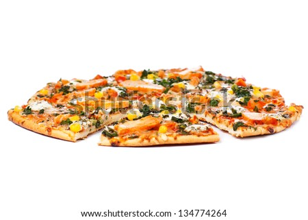 Chicken pizza on a white background - stock photo