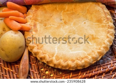 Chicken Pot Pie. Delicious and fresh from the oven chicken pot pie.  - stock photo