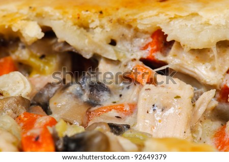 Chicken Pot-Pie dinner with fresh bread and side salad.
