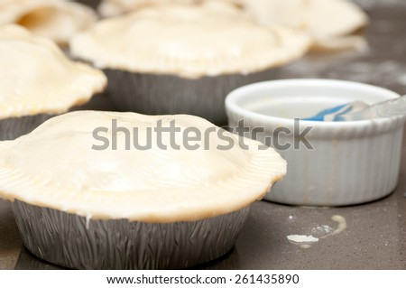 chicken pot pie made from scratch with pastry tops - stock photo