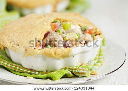 Chicken pot pie with vegetables - stock photo