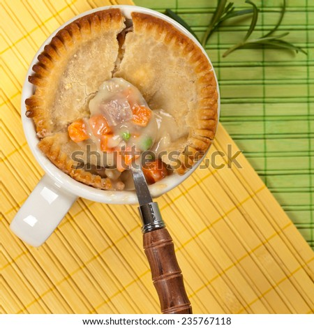 Chicken pot pie with vegetables. Selective focus. - stock photo