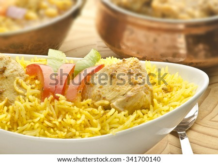 Chicken pulao with chicken curry