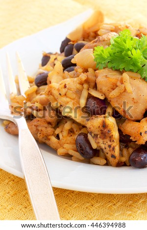 Chicken, rice and bean dish that can be ready in thirty minutes, a healthy meal for two or even a family of five - stock photo