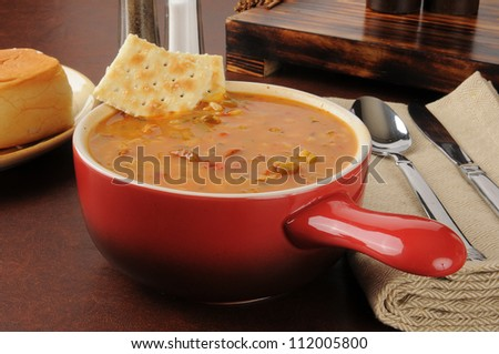 Chicken rice gumbo in a crock - stock photo