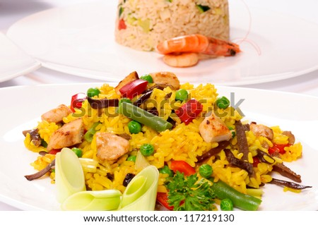 Chicken rissoto on the plate - stock photo