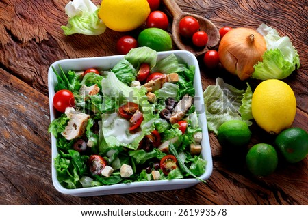 Chicken Salad bowl from the top - stock photo