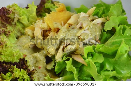 chicken salad dressing sour sauce on dish